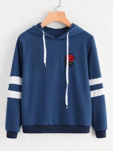 Fifth Avenue Rose Print Varsity Sleeve Striped Hoodie - Navy Blue