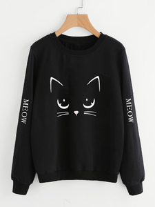 Fifth Avenue Angry Cat Meow Sleeves Printed Sweatshirt - Black