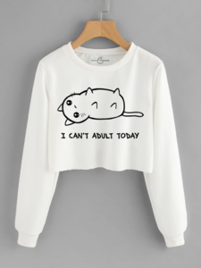 Fifth Avenue Cropped Cant Adult Today Print Sweatshirt - White