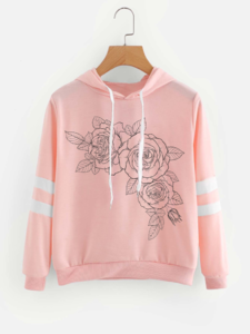 Fifth Avenue Floral Trace Varsity Sleeve Striped Hoodie - Pink
