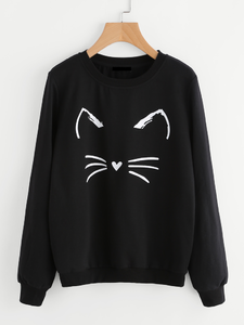 Fifth Avenue Happy Cat Printed Sweatshirt - Black