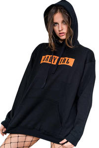 Fifth Avenue Babygirl Orange Print Hoodie - Black
