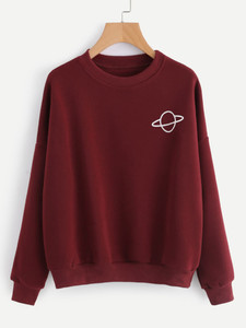 Fifth Avenue Planet Print Sweatshirt - Maroon