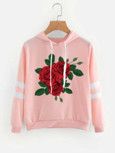 Fifth Avenue Rosey Nights Varsity Sleeve Striped Hoodie - Pink