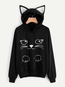 Fifth Avenue Womens Contrast Cat Ear Viva Cat Print Hoodie - Black