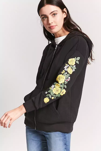 Fifth Avenue Kaza Floral Print Hoodie - Black
