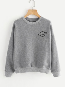 Fifth Avenue Planet Print Sweatshirt - Heather Grey