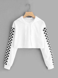 Fifth Avenue Cropped Checkered Sleeve Print Hoodie - White