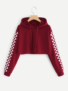 Fifth Avenue Cropped Checkered Sleeve Print Hoodie - Maroon