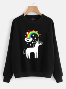 Fifth Avenue Unicorn Rainbow Printed Sweatshirt - Black