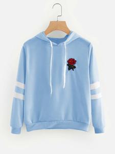 Fifth Avenue Rose Print Varsity Sleeve Striped Hoodie - Light Blue