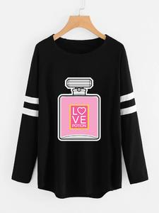 Fifth Avenue Womens NAZA Full Sleeve Love Potion Perfume Printed T-Shirt - Black