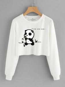 Fifth Avenue Cropped Nom Nom Panda Print Sweatshirt - White