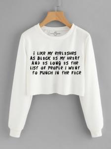 Fifth Avenue Cropped I Like My Eyelashes Print Sweatshirt - White