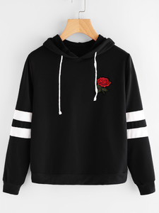 Fifth Avenue Rose Print Varsity Sleeve Striped Hoodie - Black