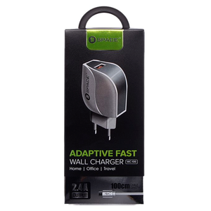 Space - 2.4 A Adaptive fast Wall Charger Travel Charger For Smartphone - WhiteHurry up! Sales Ends in
