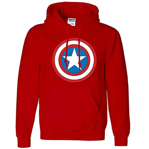 Onshoponline - Cotton Printed Captain America Hoodie For Men - RedHurry up! Sales Ends in