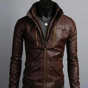 Bomber Premium Faux (Artificial) Leather Jacket Gangster Style - BrownHurry up! Sales Ends in