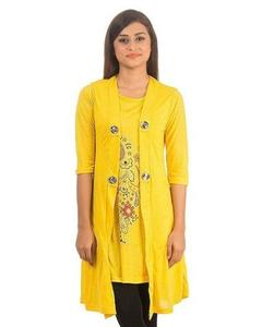 Royal Collection - Polyester & Viscose Stylish Printed Shrug for Women - RCPA-TunicShrug-Y - YellowHurry up! Sales Ends in