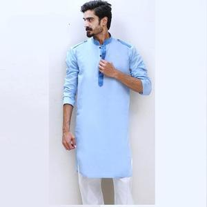 The Ajmery - Mens Cotton Stitched Kurta - Sky BlueHurry up! Sales Ends in