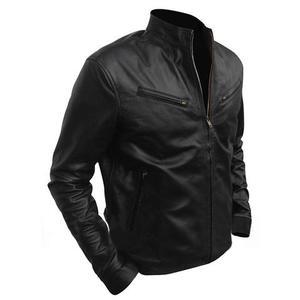 Stylish Faux Leather Regular Fit Biker Jacket Diesel Men - BlackHurry up! Sales Ends in
