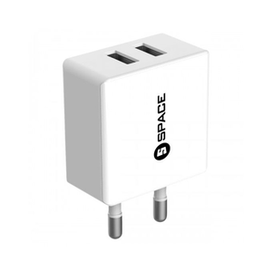 Space - Dual Port USB Charger 2.4A With Micro Cable - WhiteHurry up! Sales Ends in