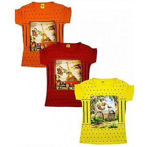 Pack Of 3 Cotton Elastic Sleeves Printed Top For Girls - MulticolorHurry up! Sales Ends in