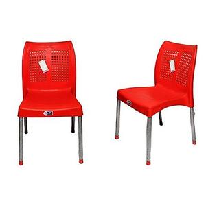 Plastic Res Relaxo Chair With Steel Legs Set of 2 - RedHurry up! Sales Ends in