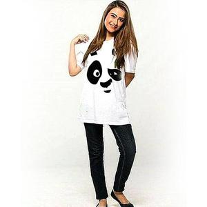 Panda Eyes Cotton Printed T-Shirt For Women - WhiteHurry up! Sales Ends in