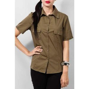 Ajmery Enterprise - Cotton Formal Camp Shirt with Dual Pockets - Army GreenHurry up! Sales Ends in