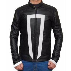 Ghost Faux Leather Jacket Regular Fit Biker Rider Men - BlackHurry up! Sales Ends in