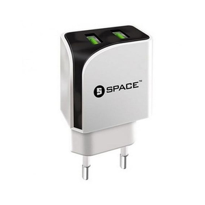 Space - iPhone Lightning Cable Dual Port USB Wall Charger - WhiteHurry up! Sales Ends in