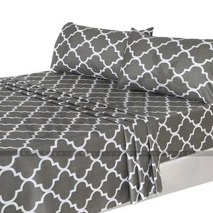 Printed Brushed Velvety Microfiber Bed Sheet Set - 3 Piece - Twin Size - GreyHurry up! Sales Ends in