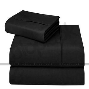 Brushed Microfiber Bed Sheet Set - 4 Pieces - Queen Size - BlackHurry up! Sales Ends in