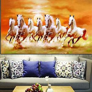 Seven Running White Horse Oil Painting on Canvas Big size 50 x 100 CM -  MulticolorHurry up! Sales Ends in