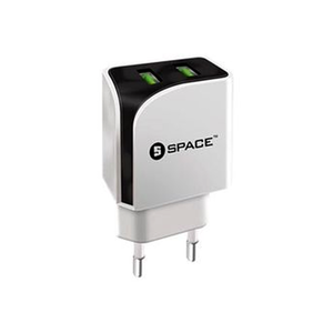 Space - Micro Cable Dual Port USB Wall Charger - WhiteHurry up! Sales Ends in