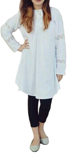 My Deals Bazaar - Pearl Boski Lilan Kurti for Women - WhiteHurry up! Sales Ends in