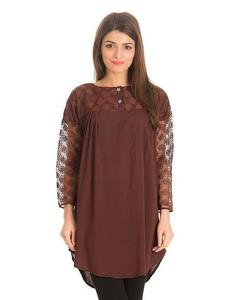 Royal Collection - Cotton & Net Tunic For Women - BrownHurry up! Sales Ends in