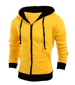 Ajmery Enterprises - Fleece Contrast Hoodie For Men - Black and YellowHurry up! Sales Ends in