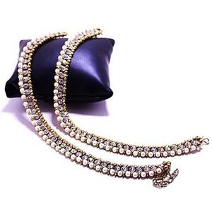 Metal Anklets For Women - Golden & WhiteHurry up! Sales Ends in