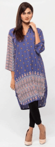 Royal Collection - Stylish Printed Embroidery Lawn Kurti for Girls/Women - PurpleHurry up! Sales Ends in