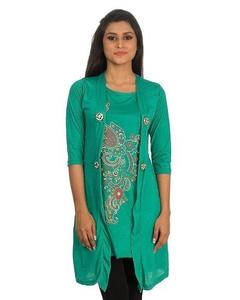 Royal Collection - Polyester & Viscose Shrug for Women - RCPA-TunicShrug-T - Sea GreenHurry up! Sales Ends in