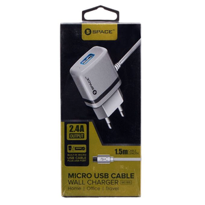 Space - 2.4 A Micro USB Cable Wall Charger Travel Charger For iPhone/iPad/Smartphone MP3 Device - WhiteHurry up! Sales Ends in