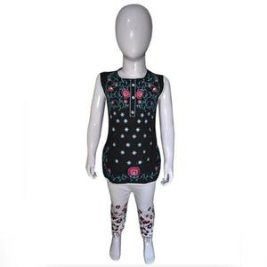 Embroidered Sleeveless Kids Kurti For Baby Girl - BlackHurry up! Sales Ends in