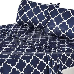 Printed Brushed Velvety Microfiber Bed Sheet Set - 3-Piece - Twin Size - Navy BlueHurry up! Sales Ends in