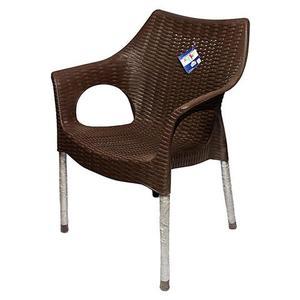 Rattan Plastic Chair With Steel Legs - Dark BrownHurry up! Sales Ends in