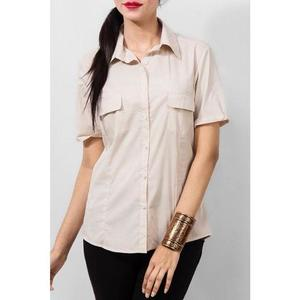 Ajmery Enterprise - Cotton Formal Camp Shirt with Dual Pockets - CreamHurry up! Sales Ends in