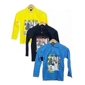 Bindas Collection - Pack Of 3 Inter Lock Printed Full Sleeves Polo Shirts For Kids - MulticolorHurry up! Sales Ends in