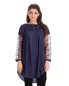 Royal Collection - Cotton & Net Tunic For Women - Navy BlueHurry up! Sales Ends in