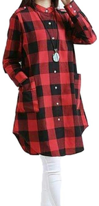 My Deals Bazaar - Pearl Cotton Long Shirt for Women - RedHurry up! Sales Ends in